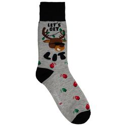 Holiday Socks Mens Let's Get Lit Crew Socks