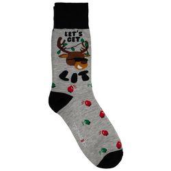 Holiday Socks Mens Let's Get Lit Crew Socks