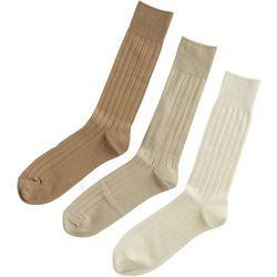 Boca Classics 3-pk. Solid Ribbed Crew Socks