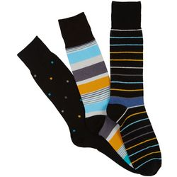 Boca Classics Mens 3-pk. Stripe Socks