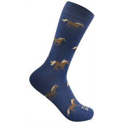 Funky Socks Mens Running Horses Crew Socks