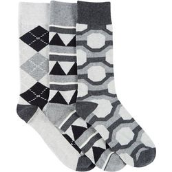Fun Socks Mens 3-pk. Geometric Print Crew Socks