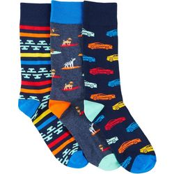 Fun Socks Mens 3-pk. Dogs & Cars Crew Socks