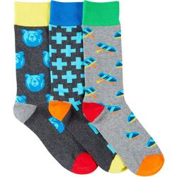 Fun Socks Mens 3-pk. Boats & Bears Crew Socks
