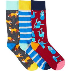 Fun Socks Mens 3-pk. Fox & Sloth Crew Socks