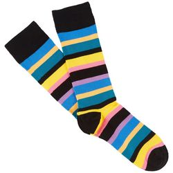 Fun Socks Mens Striped Combed Cotton Crew Socks