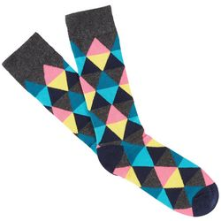 Fun Socks Mens Diamond Print Combed Coton Crew Socks