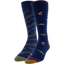 Gold Toe Mens 2-pk. Trout & Plaid Pointer Crew Socks