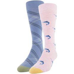 Gold Toe Mens 2-pk. Marlin & Stripe Crew Socks
