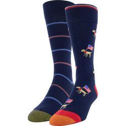 Gold Toe Mens 2-pk. Patriotic Dog & Stripe Crew Socks