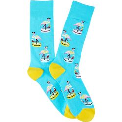 Davco Mens Flamingo Pool Crew Socks