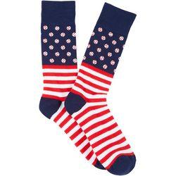 Davco Mens Baseball Americana Crew Socks