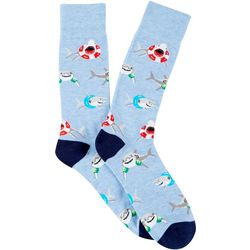 Davco Mens Sharks & Floats Crew Socks