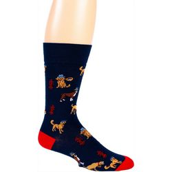 Davco Mens Detective Dogs Crew Socks