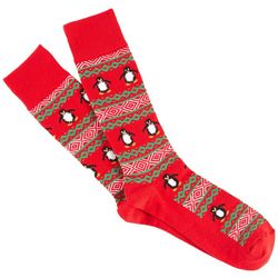 Soxland Mens Penguin Fair Isle Crew Socks