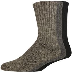 Dockers Mens 3-pk. Heathered Ribbed Performance Crew Socks