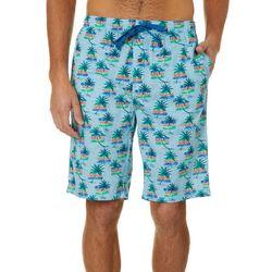 Tommy Bahama Mens Palm Tree & Stripe Bermuda Sleep Shorts
