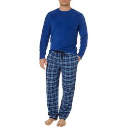 IZOD Mens 2-pc. Fleece Plaid Print Pajama Set