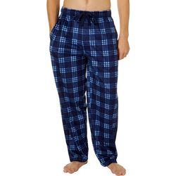 IZOD Mens Plaid Printed Silky Fleece Pajama Pants