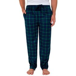 IZOD Mens Plaid Print Silky Fleece Pajama Pants