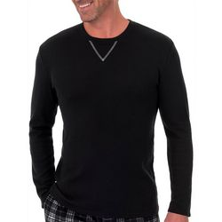 IZOD Mens Waffle Knit Long Sleeve Pajama Top