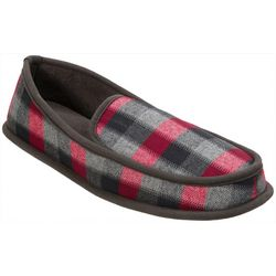 Dearfoams Mens Plaid Moccasin Slippers