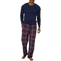Haggar Mens 2-pc. Microsuede Plaid Print Pajama Set