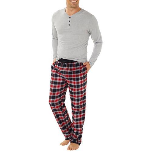 e9c19079d7 Haggar Mens Plaid Cotton Flannel Pajama Pants Set