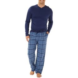 Haggar Mens Plaid Flannel Long Sleeve Pajama Pants Set