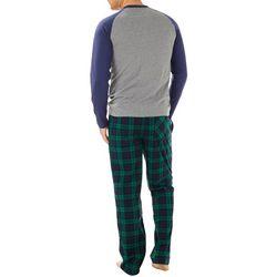 Haggar Mens Baseball Plaid Microsuede Pajama Pants Set