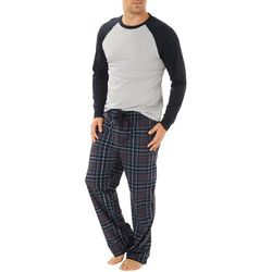 Haggar Mens Baseball Plaid Print Mircosuede Pajama Pants Set