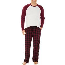 Haggar Mens Plaid Baseball Microsuede Pajama Pants Set