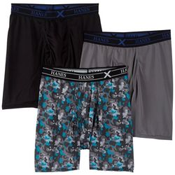 Hanes Mens 3-pk. Blue Camo X-Temp Boxer Briefs