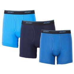 Jockey Mens Essential Fit 3-pk. Solid StayCool+ Boxer Briefs