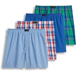 Jockey Mens 4-pk. Blue Plaid Woven Boxers