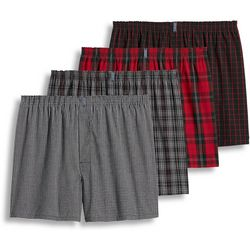 Jockey Mens Classics 4-pk. Red Plaid Print Boxers