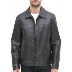 Tommy Hilfiger Mens Faux Leather Bomber Jacket