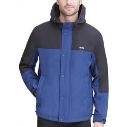 Levi's Mens Colorblocked Fleece Hooded Rain Jacket