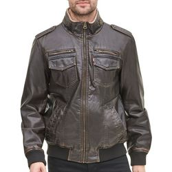 Levi's Mens Faux Leather Aviator Bomber Jacket