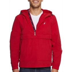 Nautica Mens Solid Crinkle Hooded Jacket