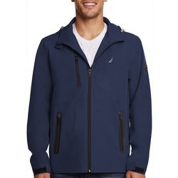 Nautica Mens Solid Stretch Hooded Jacket