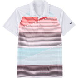 Golf America Mens Stripe Raglan Polo Shirt