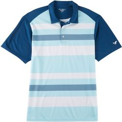 Golf America Mens Stripe Print Raglan Polo Shirt