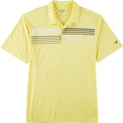 Golf America Mens Stripe Chest Print Performance Polo Shirt