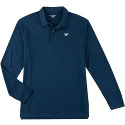 Golf America Mens Heathered Long Sleeve Polo Shirt
