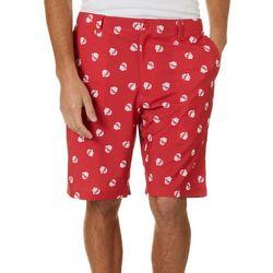 Golf America Mens Santa Hat Print Golf Shorts