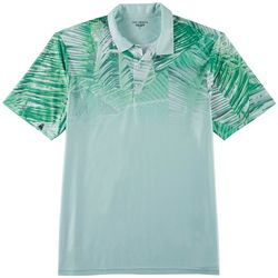 Golf America Mens Palm Leaf Print Performance Polo Shirt
