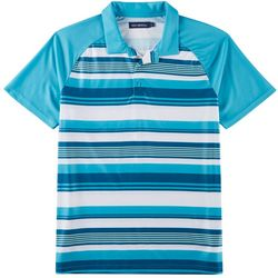 Golf America Mens Striped Raglan Performance Polo Shirt