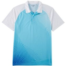 Golf America Mens Dot Line Wave Performance Polo Shirt