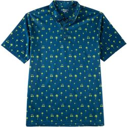 Golf America Mens Palm Tree & Golf Cart Polo Shirt